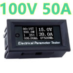 Jual 5pcs/lot Digital Ammeter Voltmeter DC 100V 50A Amp Volt Watt Power Energy Voltage Current capacity Tester Meter 40%off