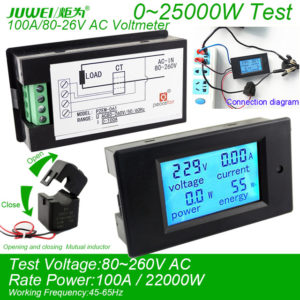 Jual Digital AC Voltmeter Voltage Meters 100A/80~260V Power Energy analog Ammeter watt current Amps Volt meter LED Panel Monitor