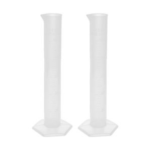 Jual SOSW-2pcs 50ml Transparent Plastic Graduated Cylinder Lab Measuring Cup