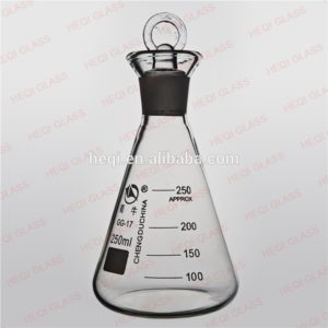Jual Lab glassware Boro3.3 Erlenmeyer glass conical flask with cap