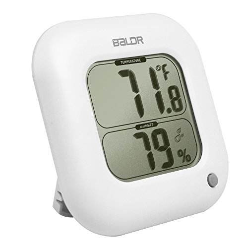 Jual BALDR Square Thermometer and Hygrometer with Temperature Humidity Display Temperature Sensor (White)