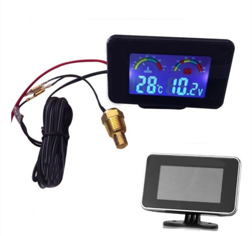 Jual New 2 Funtion 12v/24v Lcd Screen Car Truck Voltmeter Voltage Gauge + Water Temperature Gauge Thermometer